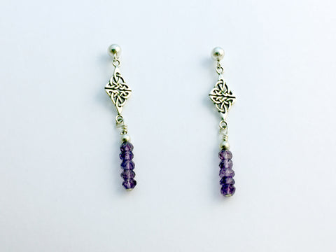 Sterling Silver 4mm ball stud w/Double Celtic Knot and Amethyst Dangle Earrings