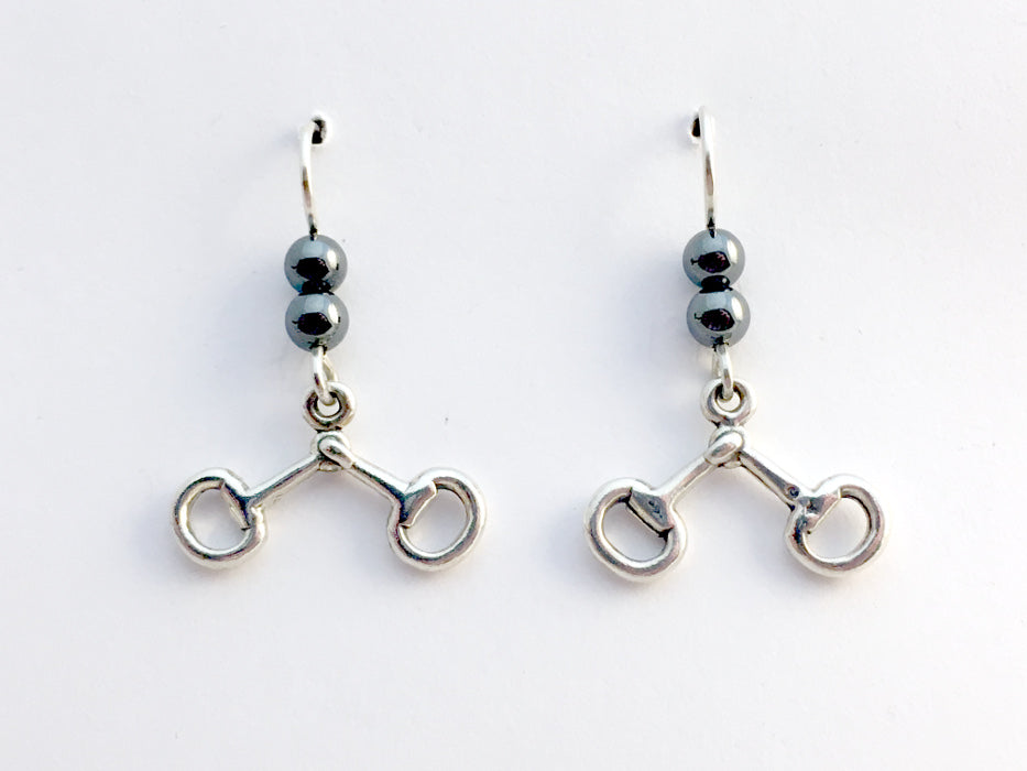 Sterling silver snaffle bit dangle earrings-horse -hematite, tack, bridle, bits