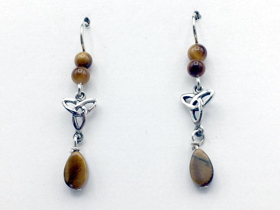 Sterling silver Celtic Trinity knot dangle earrings-Tiger eye,Triquetra, knots