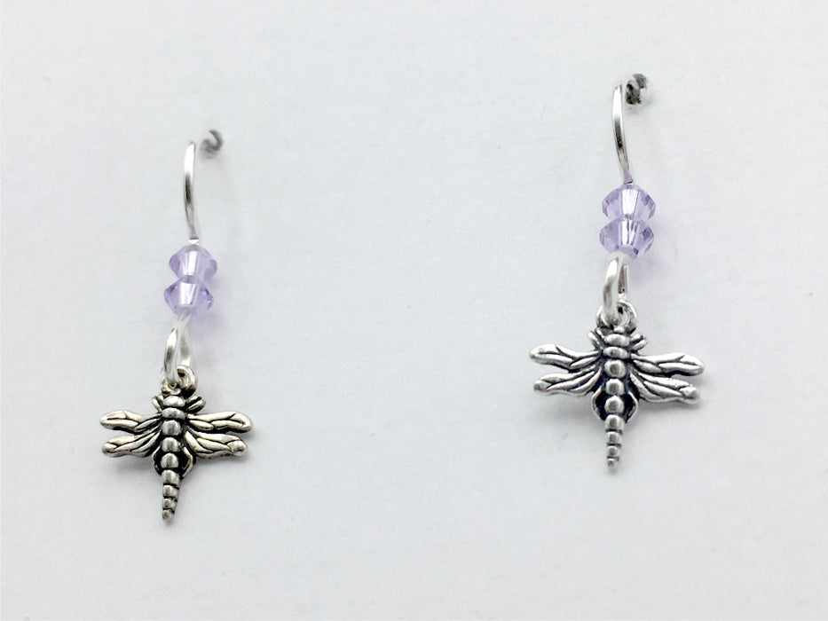 Sterling silver tiny dragonfly dangle earrings-light violet crystal, dragonflies