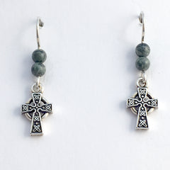 Pewter & Sterling silver small Celtic knot cross dangle earrings-religion, knots