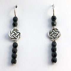 Pewter & Sterling Silver Round Celtic dangle Knot Earrings- black glass, knots