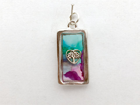 Pewter frame pendant w/ sterling silver tree in heart- resin, trees, nature, alcohol ink