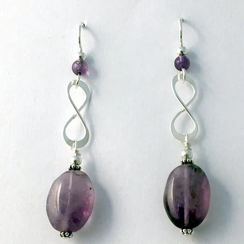 Sterling Silver infinity symbol dangle Earrings- amethyst, purple, knot, love
