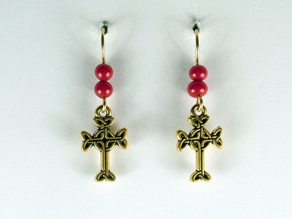 Gold tone Pewter & 14k gf Celtic knot Cross  dangle earrings- opaque red glass