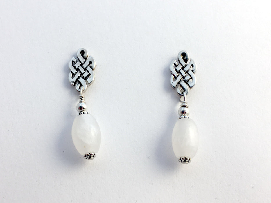 Sterling Silver & surgical steel Celtic knot stud Earrings-snow quartz, knots