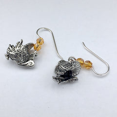 Pewter & Sterling Silver Turkey dangle Earrings-Thanksgiving- Bird- Turkeys