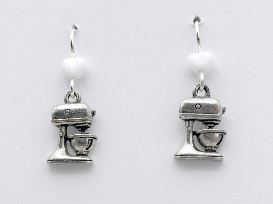 Pewter & Sterling Silver Stand Mixer dangle earrings- chef, cook, Baker, baking