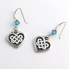 Pewter & sterling silver Celtic Knot Heart dangle earrings- teal crystal- knots