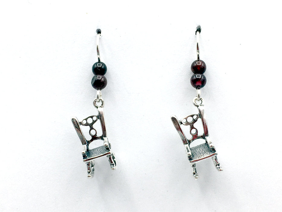 Sterling Silver 3-D Rocking Chair dangle earrings- chairs, woodworker, furniture
