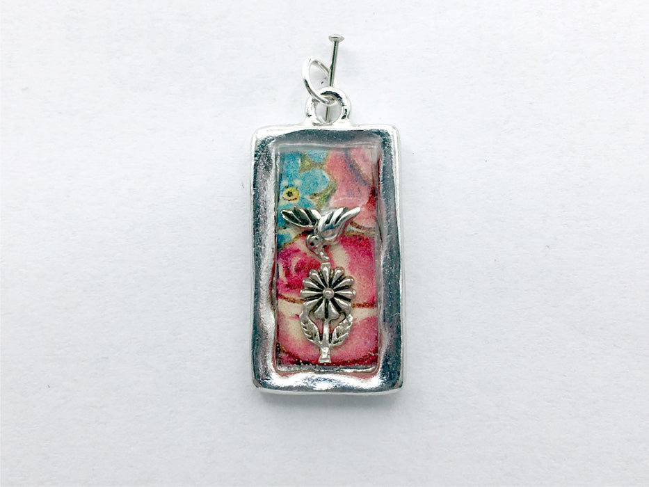 Pewter frame, floral print, sterling silver hummingbird  and flower pendant-resin, birds