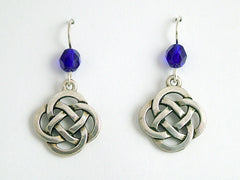 Pewter & Sterling Silver large Round Celtic Knot dangle Earrings- cobalt blue