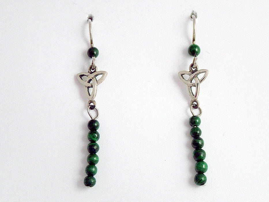 Sterling silver small Celtic Trinity knot dangle earrings - malachite, 2 inches