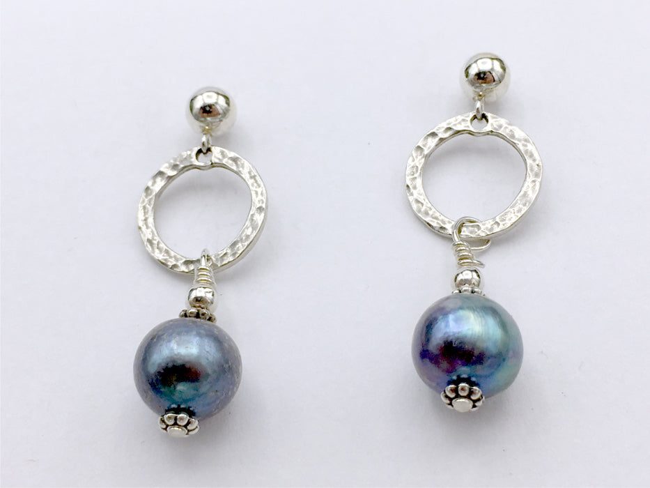 Sterling Silver 5mm ball stud with hammered circle Earrings-dangle, freshwater pearls