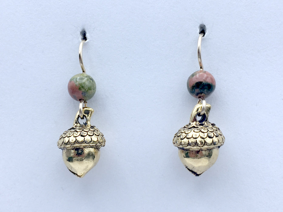 Goldtone Pewter & 14k GF 3-D Acorn dangle earrings-Acorns,unakite,Fall,Oak, Oaks