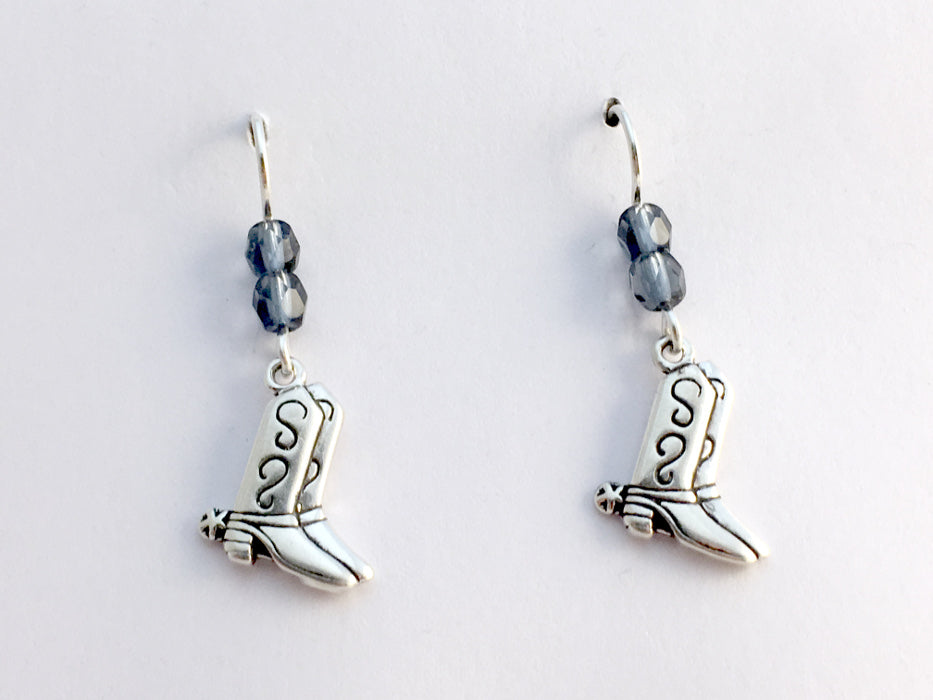 Sterling Silver Cowboy boot dangle earrings-Horse, Cowgirl, boots, western,denim