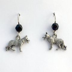 Pewter & Sterling silver German Shepherd dog dangle earrings-dogs, shepherds, K-9