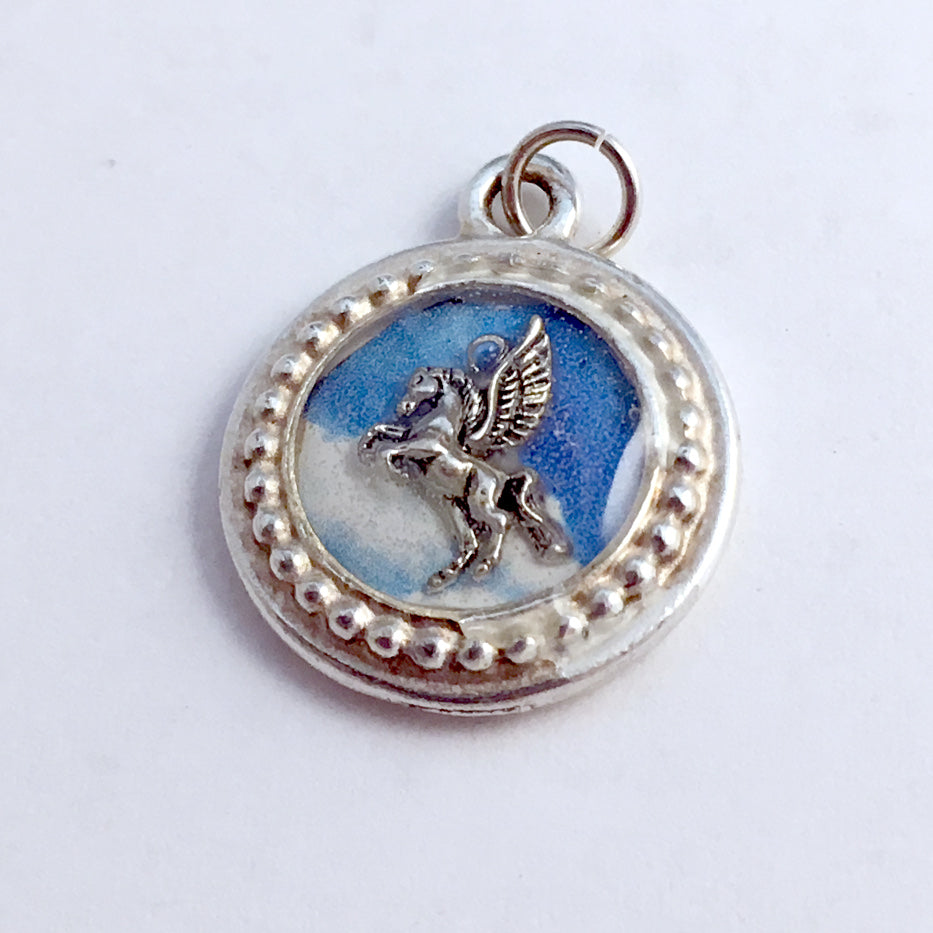 Pewter frame, sky print, sterling silver pegasus pendant-resin, mythology,horse