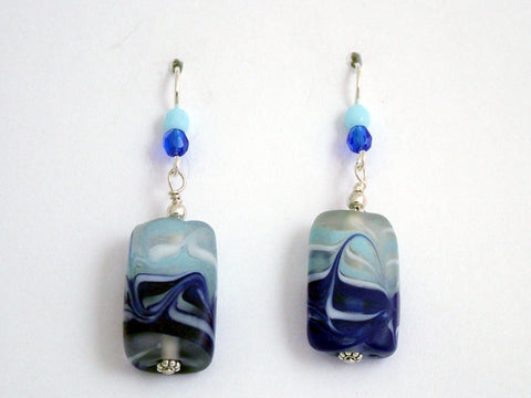 Aqua and dark blue wavy glass rectangle dangle earrings- sterling silver-waves