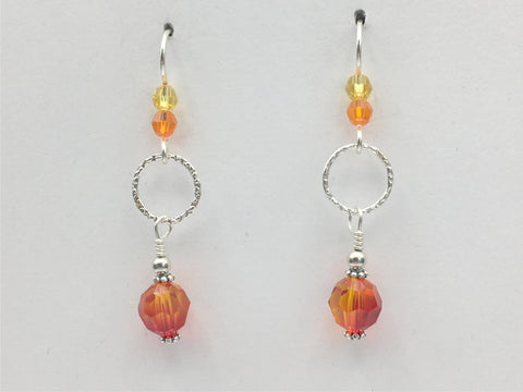 Sterling Silver 2 tone yellow and orange crystal with textured link dangle earrings