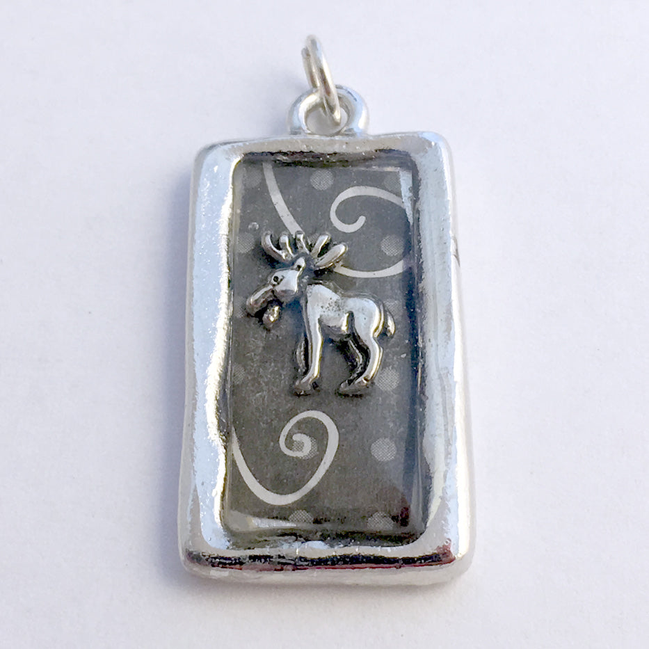 Pewter frame, sterling silver moose pendant-resin, swirls, elk, animal, antler