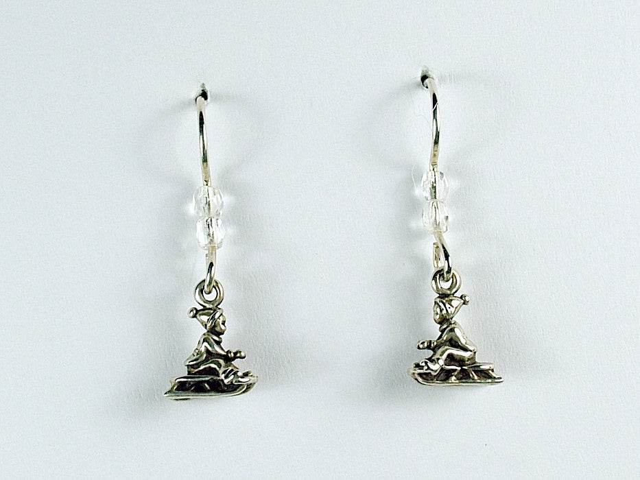 Sterling silver tiny child on sled dangle earrings-snow, winter,sledding, sleigh