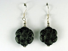 "Sterling silver and Blackstone carved flower dangle earrings-1 5/8"" long"