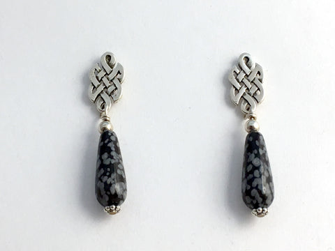 Sterling Silver & surgical steel  Celtic knot stud Earrings- snowflake obsidian
