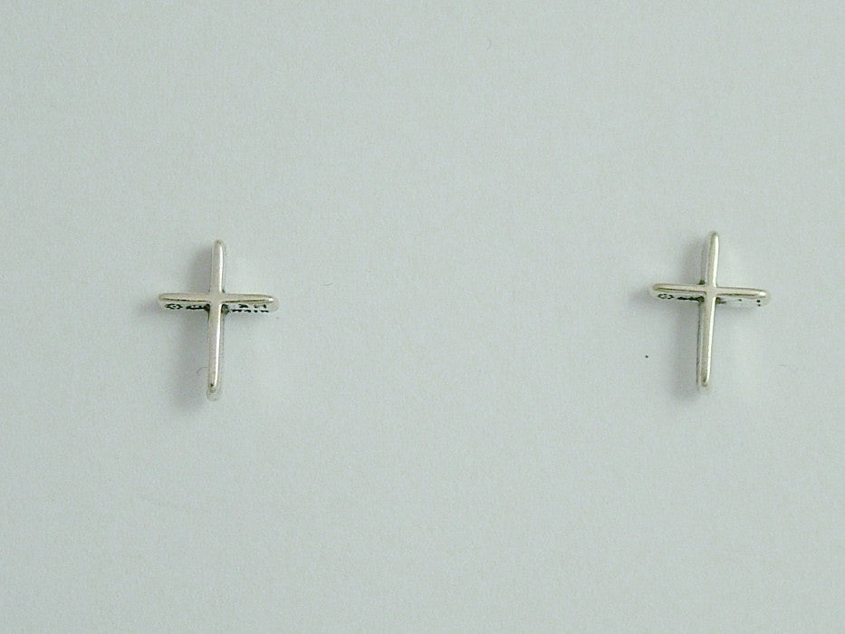 Sterling Silver & Surgical Steel Plain Cross stud earrings- Religion, crosses