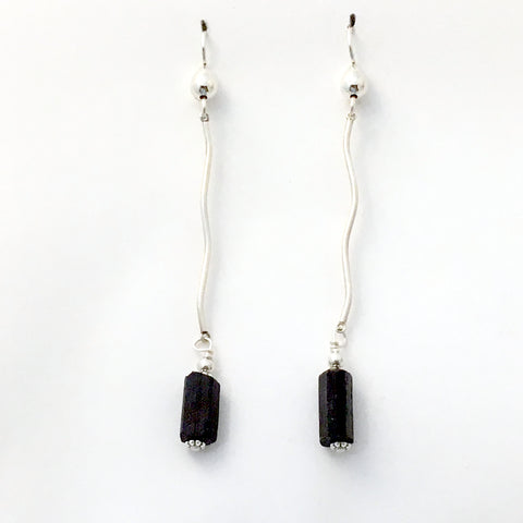 Sterling silver and Black Tourmaline rough long dangle earrings- 3 1/4 inches