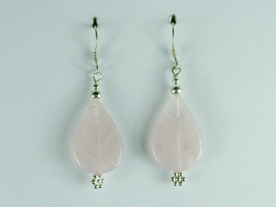 Sterling silver Rose Quartz carved leaf dangle earrings- 1 3/4 inch long