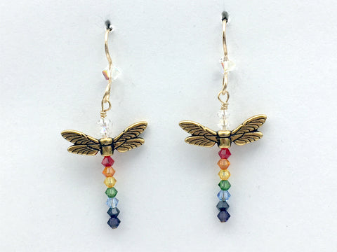 Goldtone Pewter and  14K GF dragonfly dangle earrings-rainbow crystals-LGBTQIA