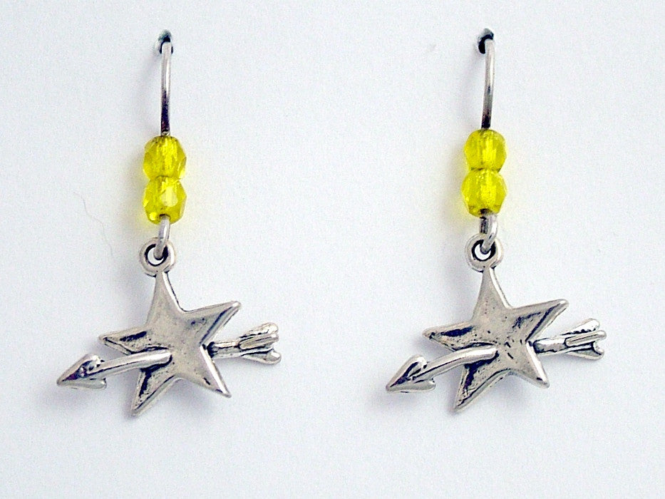 Sterling Silver star with arrow dangle earrings-shoot for the stars, shooting