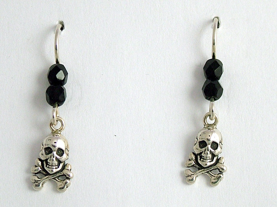 Sterling Silver Skull &  Crossbone dangle earring-glass-Fantasy, Pirate, pirates