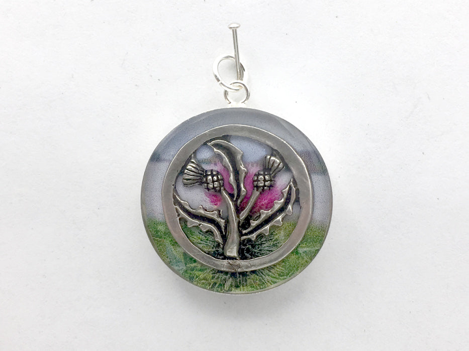 Sterling silver 25mm Round Pendant with Thistles and Loch, Scotland, Celtic