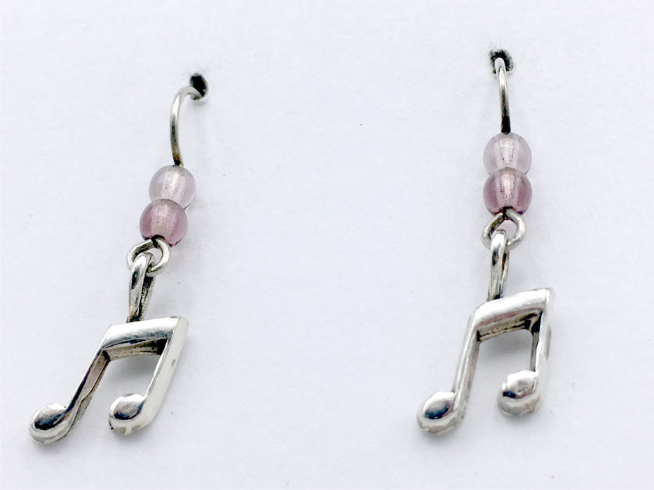 Sterling Silver small Musical Notes dangle earrings-music, musician, singer, score