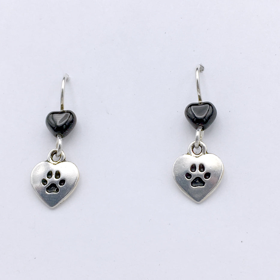 Pewter & Sterling Silver Love Heart My Dog dangle Earrings-dogs, canine, paw, paws