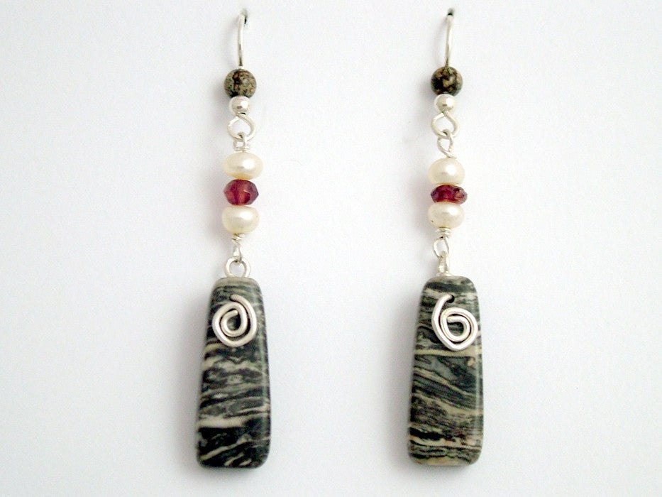 Sterling silver, Leopardskin Jasper, Freshwater Pearl and garnet beads dangle earrings with Spiral