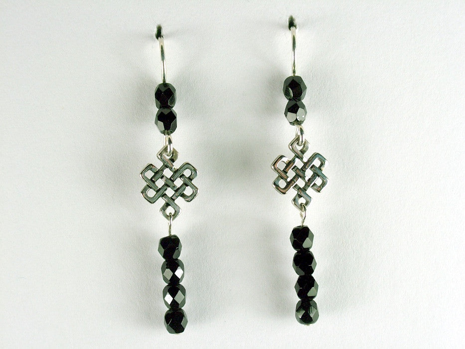 Pewter & Sterling Silver Celtic Knot  Earrings-Endless- Eternal, Tibetan, black