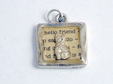 Pewter with hello friend print & sterling silver tiny cat pendant-resin, cats