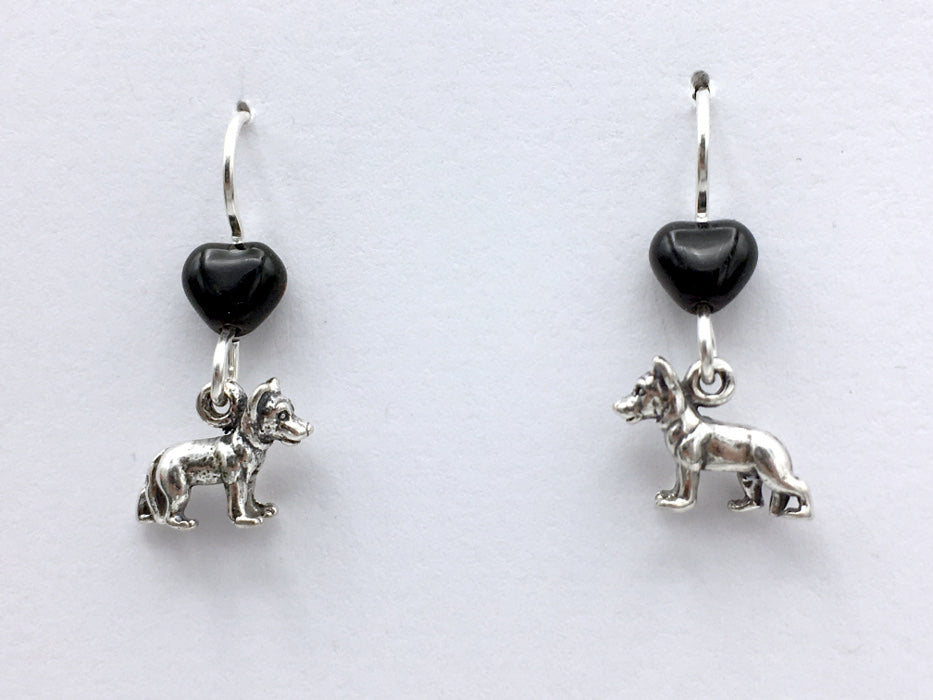Sterling silver tiny German Shepherd dog dangle Earrings-dogs, heart, K-9,canine