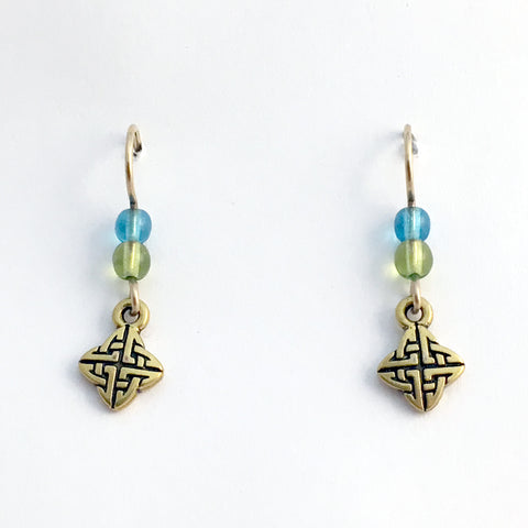 Gold tone Pewter & 14k gold filled earwire tiny Celtic knot earrings- aqua, green