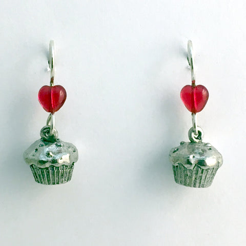 Pewter & Sterling silver muffin or cupcake dangle Earrings-baker, baking,muffins