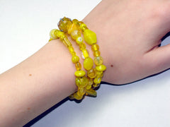 3 Strand Glass lampwork bead, crystal bead Memory Wire Bracelet, Yellows