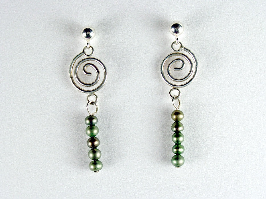 Sterling Silver 4mm ball stud w/ spiral & green fw pearl dangles -Earrings