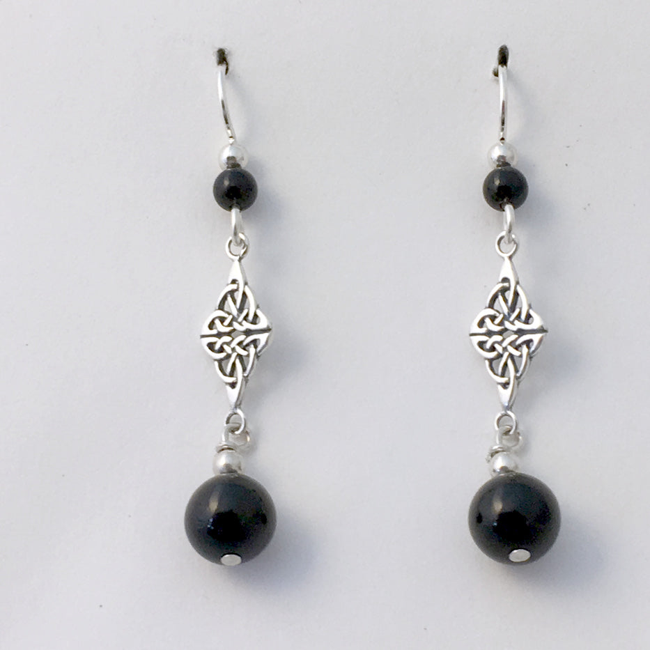 Sterling Silver Double Celtic Knot Dangle Earrings- black onyx, gorgeous