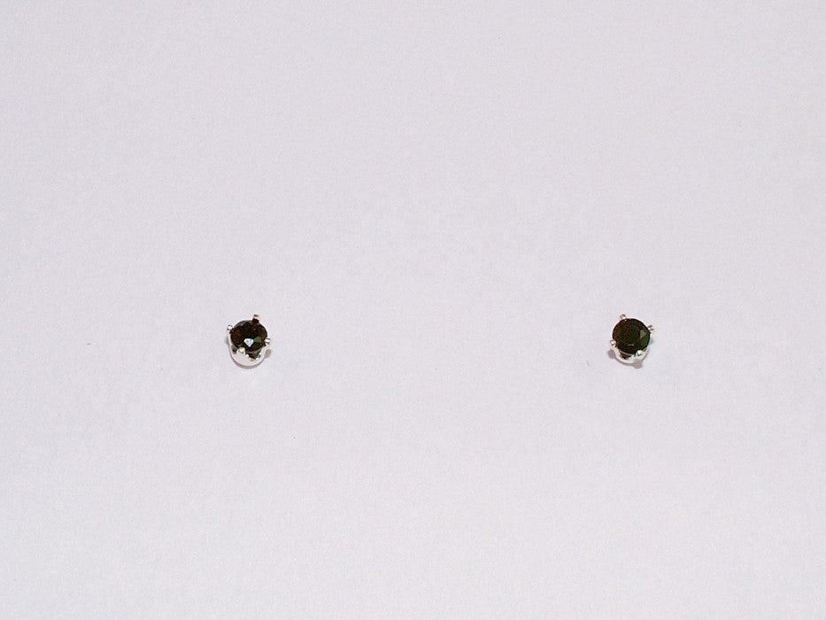 808a204e0 Sterling silver tiny 3mm Black Tourmaline stud earrings-studs, faceted,
