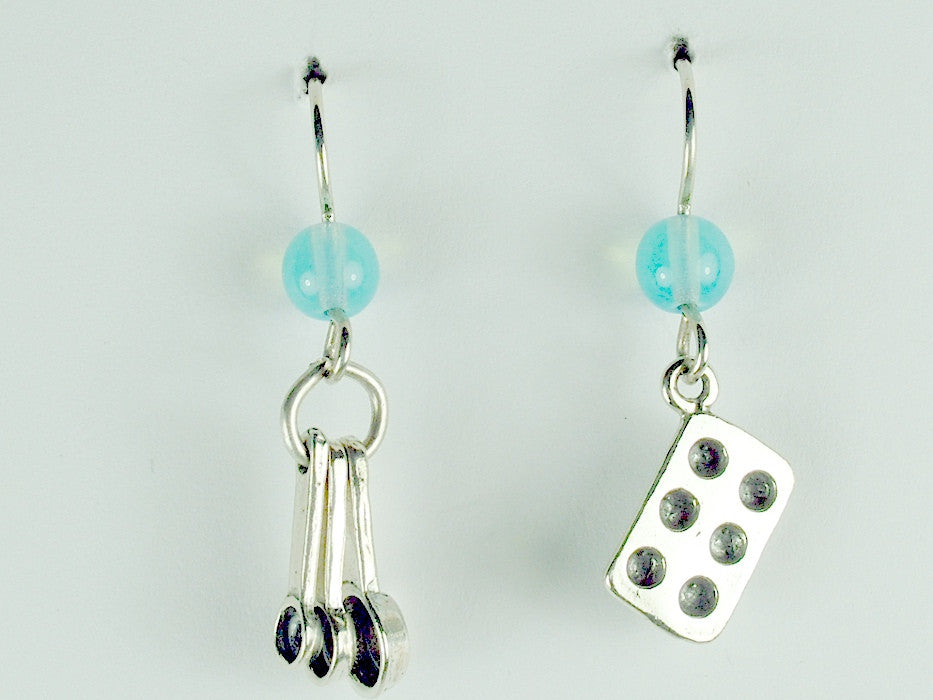 Sterling Silver Baker dangle earrings-measuring spoons, muffin pan-cook, baking