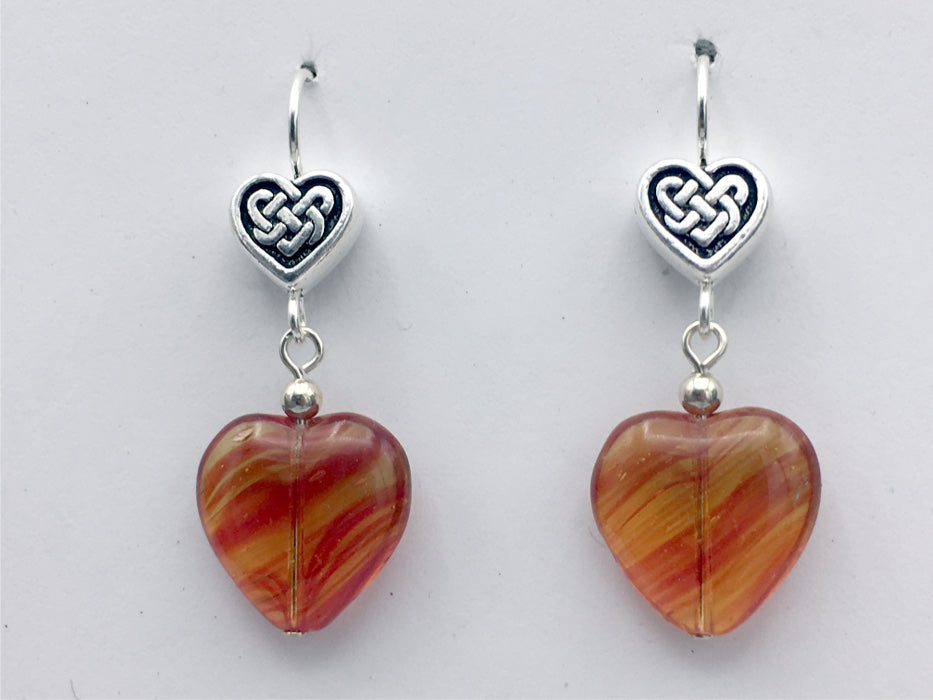 Pewter & sterling silver Celtic Knot Heart dangle earrings-orange and red glass-Valentine