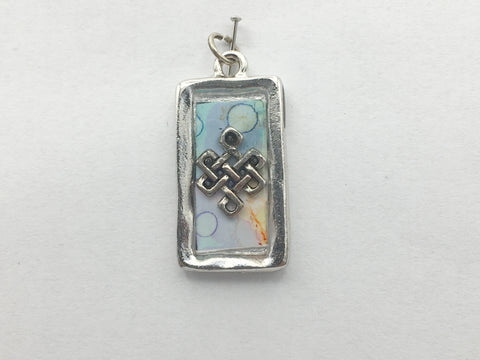 Pewter frame w/ pewter Celtic knot, alcohol ink art, pendant-resin, Tibetan,